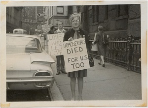 Rene Cafiero at first-ever public demonstration for gay rights (courtesy of Randolfe Wicker)
